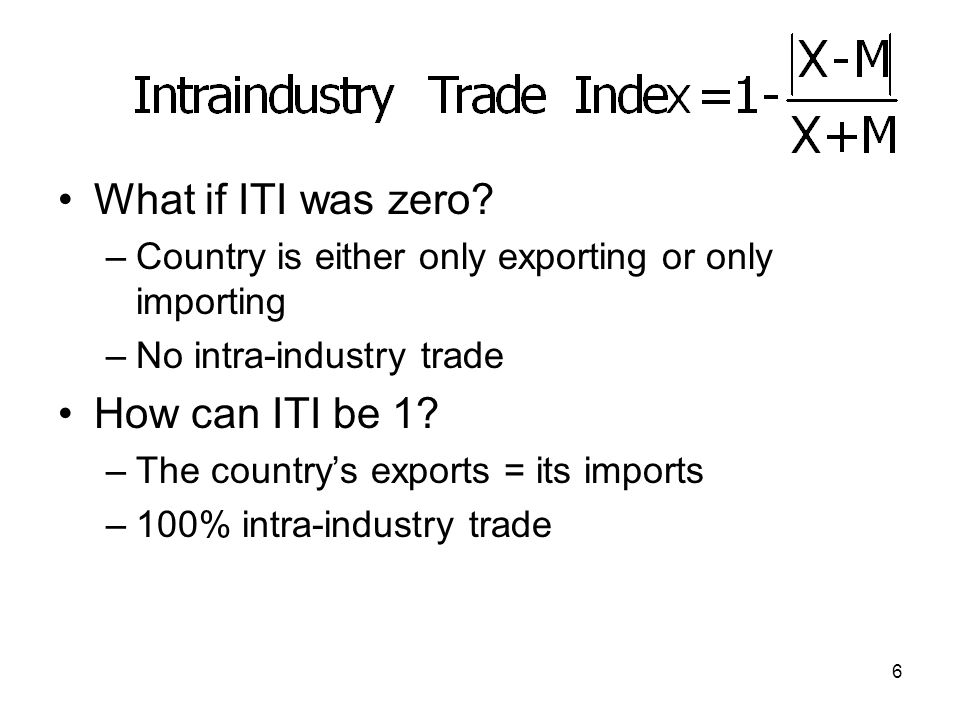 5 Example –US imports $100,000 worth of autos and exports 30,000 worth of autos.