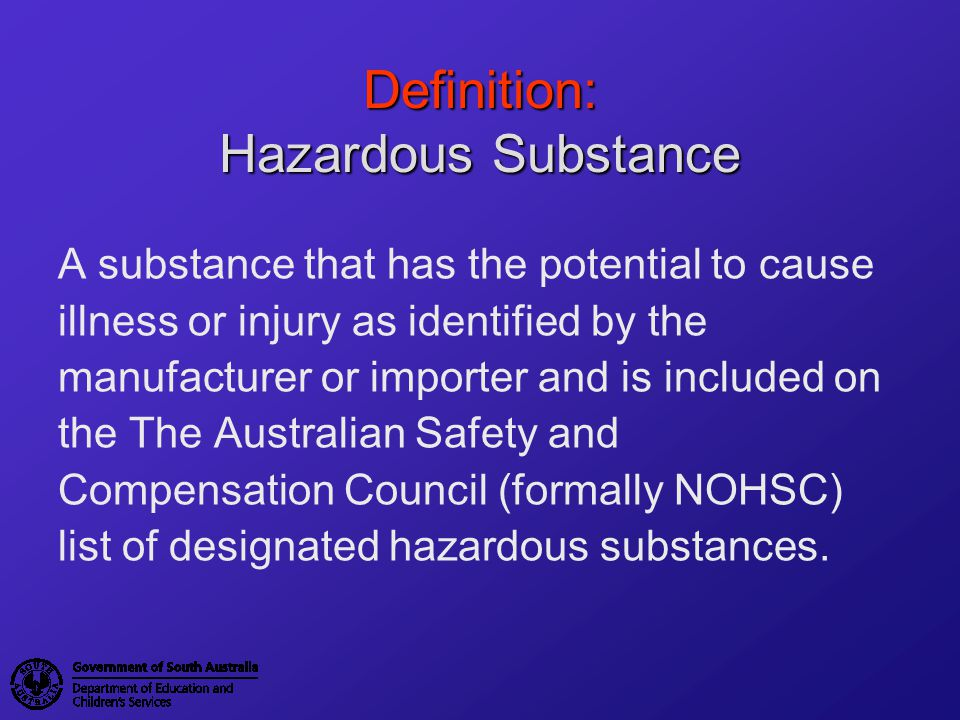 Training Occupational Health, Safety and Welfare Regulations 1995 4.1.14Instruction and training (1) An employer must provide instruction and training in accordance with this regulation to any employee who could be exposed to hazardous substances in the workplace.