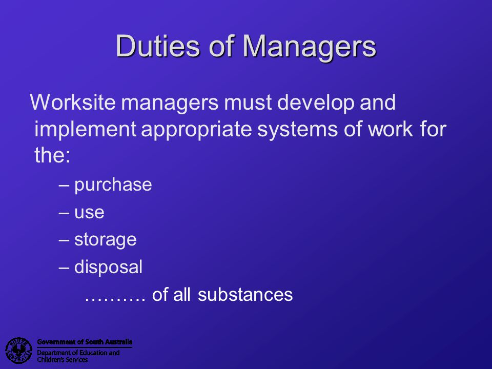 Hierarchy of Controls Elimination (dispose of or do not purchase hazardous substances) Substitution (use a less hazardous substance) Engineering (eg: use substances in a fume cabinet/ open windows) Administration (maintain registers, training, labels, storage, disposal information) Personal Protective Equipment (safety glasses, aprons, gloves etc) Click Here to Return