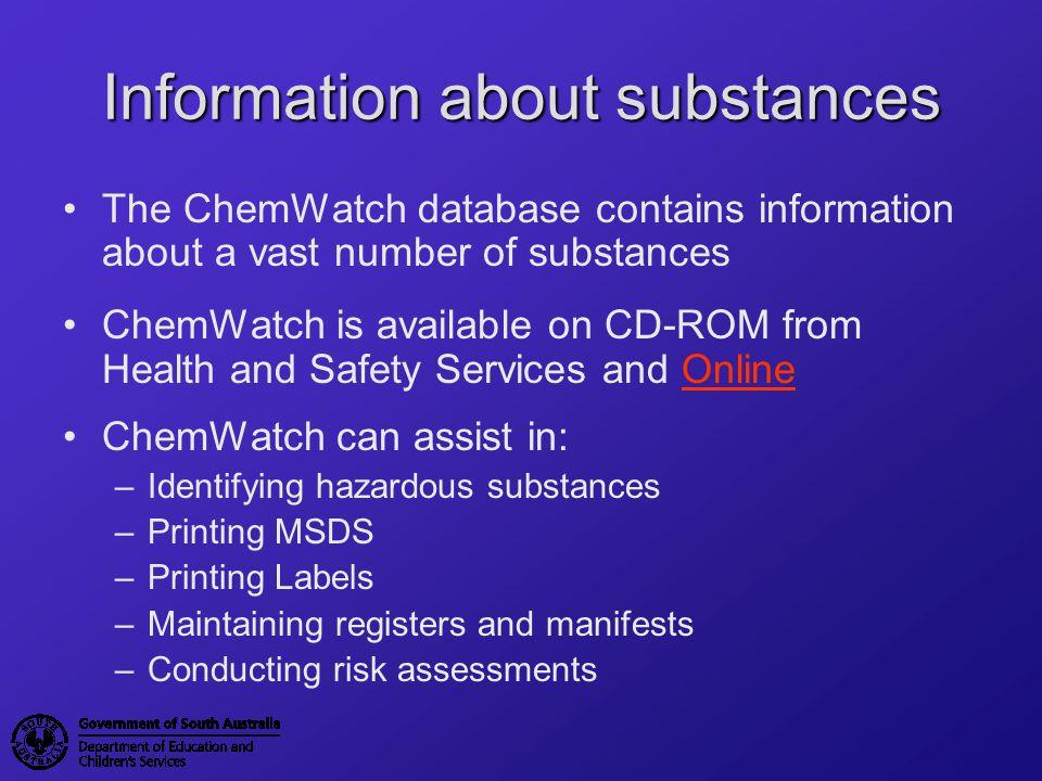 ChemWatch ChemWatch front screen