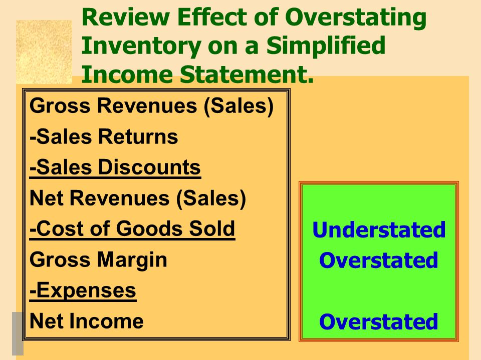 Review Effect of Overstating Inventory on a Simplified Income Statement.