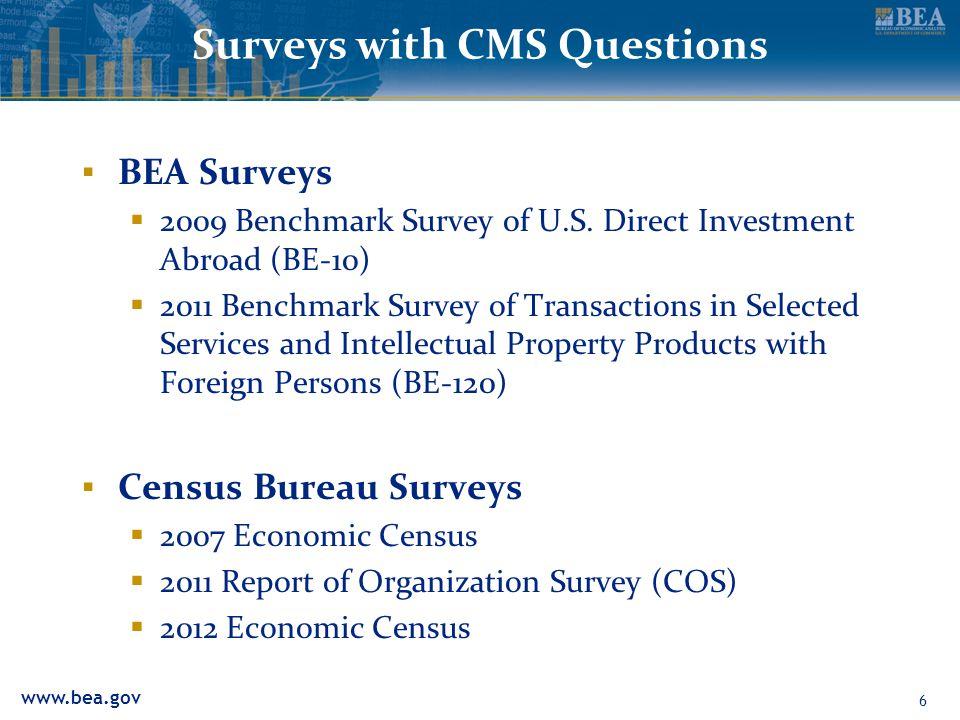 www.bea.gov Surveys with CMS Questions BEA Surveys 2009 Benchmark Survey of U.S.