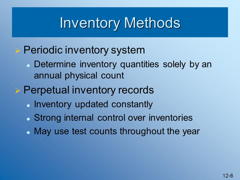 12-17 Controls Over the Conversion Cycle Segregation of duties over purchases and custody of inventory Use of pre-numbered requisitions, purchase orders, and receiving reports Procedures for authorizing purchase transactions and verifying them for payment General ledger control of inventories and reconciliation to production records Cost accounting controls Analysis of variances from standard costs Use of perpetual records for inventories Use of appropriate procedures for taking inventory Appropriate physical controls over inventories