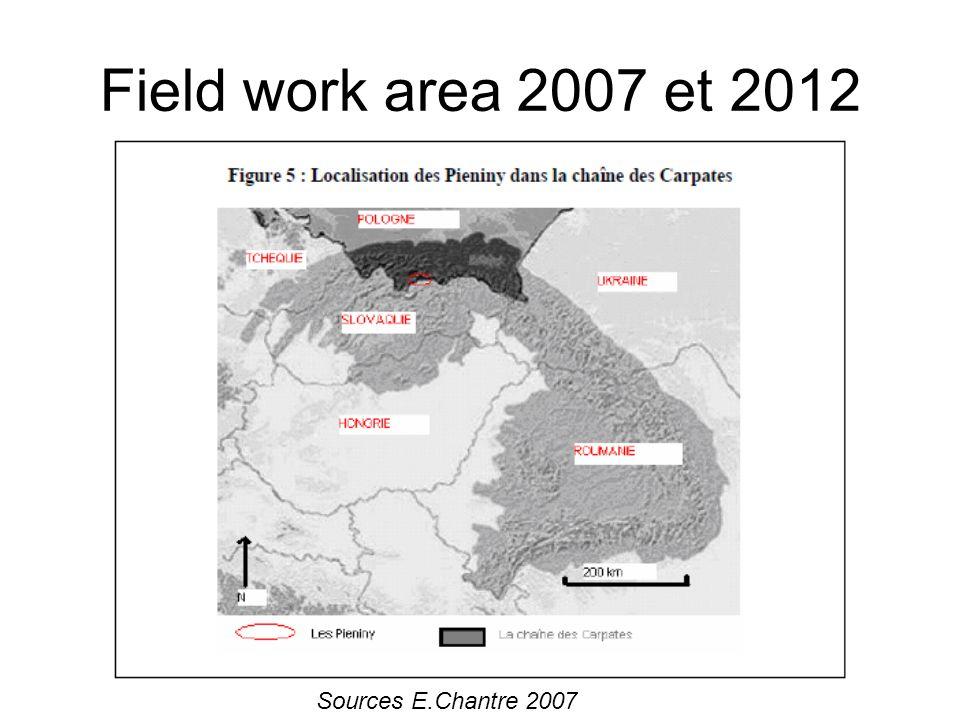 Field work area 2007 et 2012 Sources E.Chantre 2007