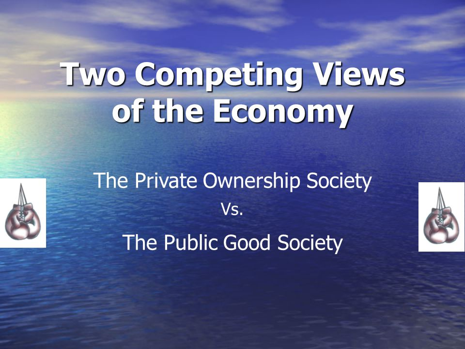 Two Competing Views of the Economy The Private Ownership Society Vs. The Public Good Society