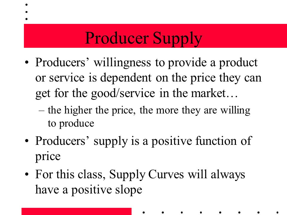 Producer Supply Producers willingness to provide a product or service is dependent on the price they can get for the good/service in the market… –the higher the price, the more they are willing to produce Producers supply is a positive function of price For this class, Supply Curves will always have a positive slope
