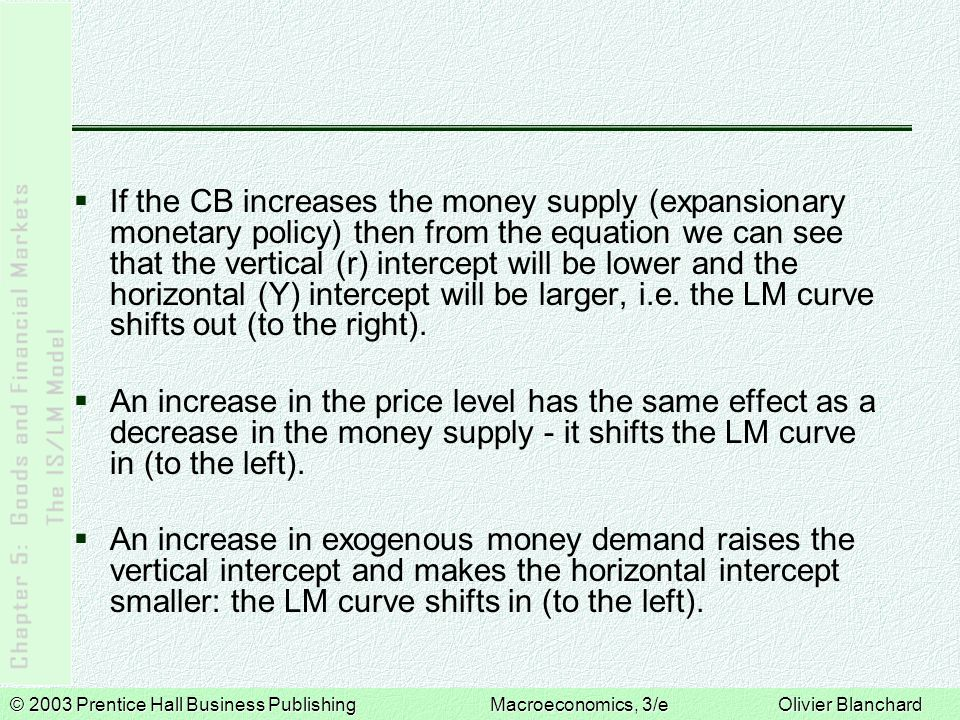 © 2003 Prentice Hall Business PublishingMacroeconomics, 3/e Olivier Blanchard If the CB increases the money supply (expansionary monetary policy) then from the equation we can see that the vertical (r) intercept will be lower and the horizontal (Y) intercept will be larger, i.e.