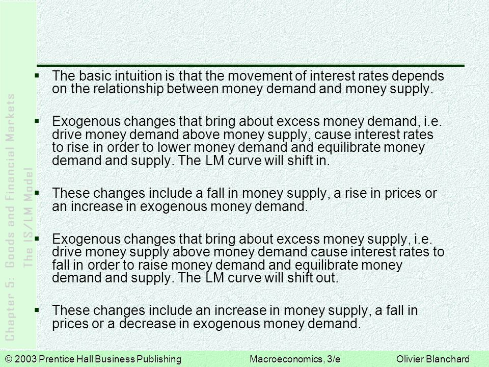 © 2003 Prentice Hall Business PublishingMacroeconomics, 3/e Olivier Blanchard The basic intuition is that the movement of interest rates depends on the relationship between money demand and money supply.