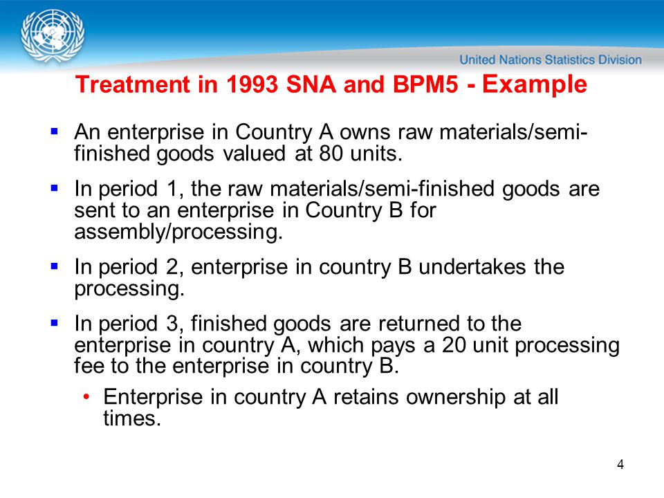 4 Treatment in 1993 SNA and BPM5 - Example An enterprise in Country A owns raw materials/semi- finished goods valued at 80 units.