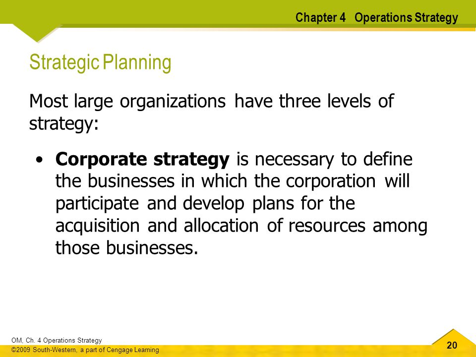 20 OM, Ch. 4 Operations Strategy ©2009 South-Western, a part of Cengage Learning Strategic Planning Most large organizations have three levels of stra