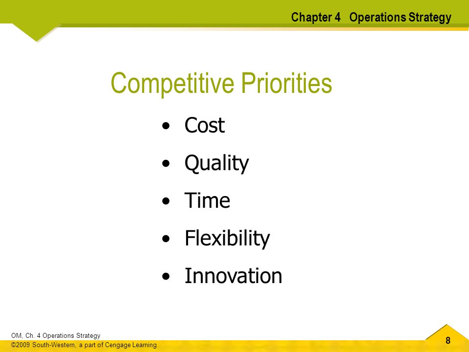 88 OM, Ch. 4 Operations Strategy ©2009 South-Western, a part of Cengage Learning Cost Quality Time Flexibility Innovation Competitive Priorities Chapt