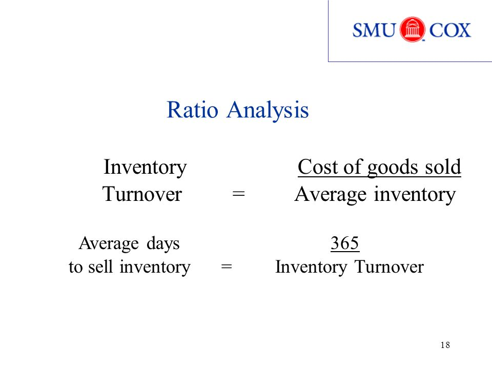 18 Ratio Analysis Inventory Cost of goods sold Turnover = Average inventory Average days 365 to sell inventory = Inventory Turnover
