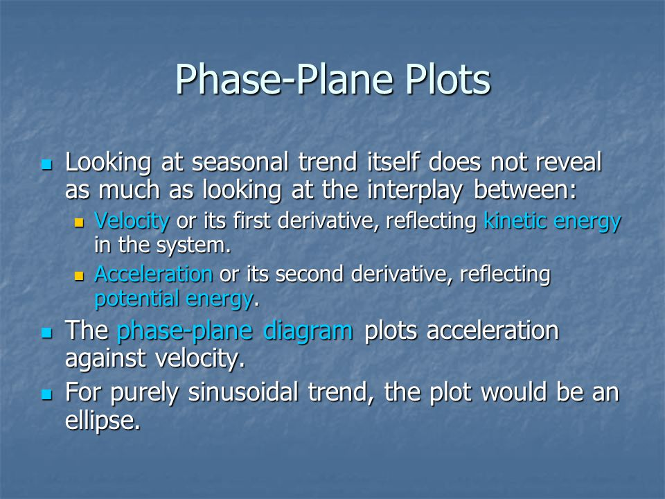 Phase-Plane Plots Looking at seasonal trend itself does not reveal as much as looking at the interplay between: Looking at seasonal trend itself does not reveal as much as looking at the interplay between: Velocity or its first derivative, reflecting kinetic energy in the system.