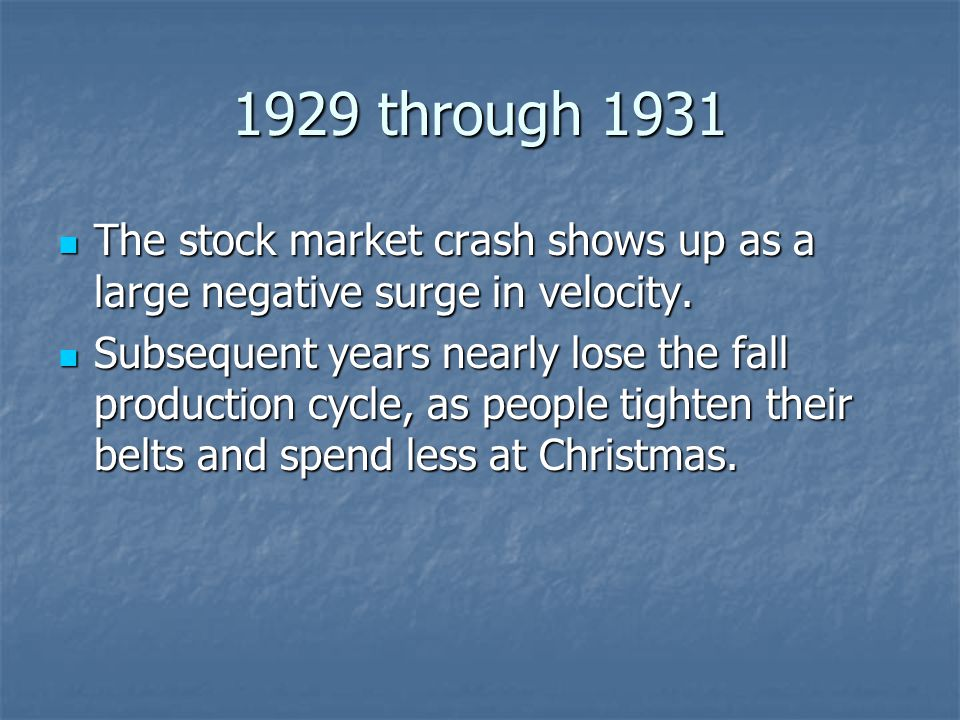 1929 through 1931 The stock market crash shows up as a large negative surge in velocity.