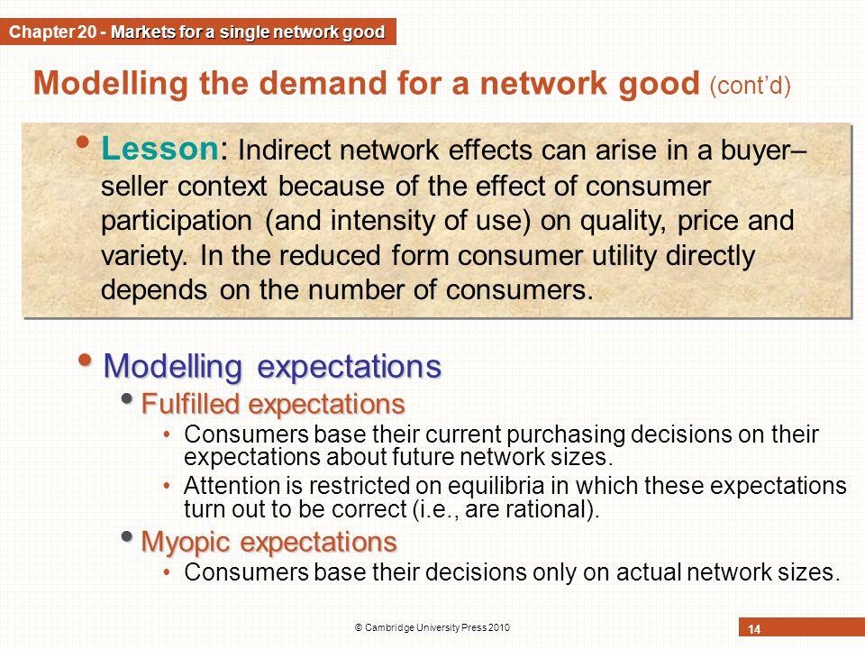 © Cambridge University Press 2010 14 Modelling the demand for a network good (contd) Modelling expectations Modelling expectations Fulfilled expectati