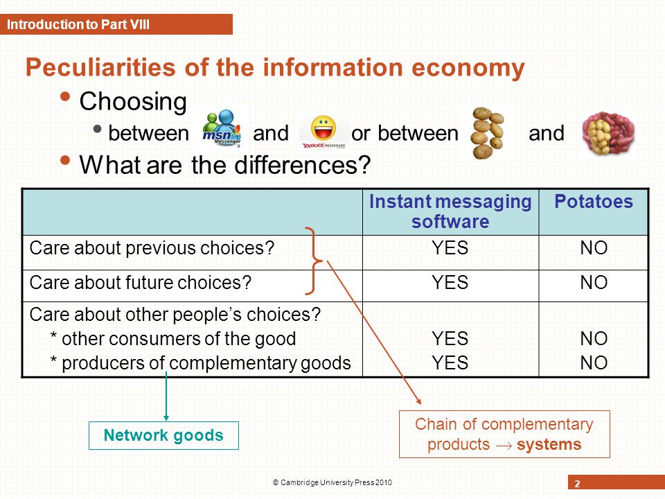 © Cambridge University Press 2010 2 Introduction to Part VIII Peculiarities of the information economy Choosing between and or between and What are th