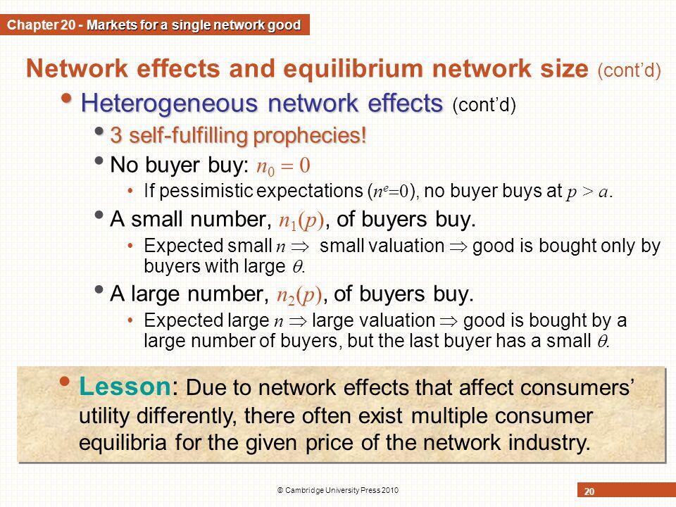 © Cambridge University Press 2010 20 Network effects and equilibrium network size (contd) Heterogeneous network effects Heterogeneous network effects