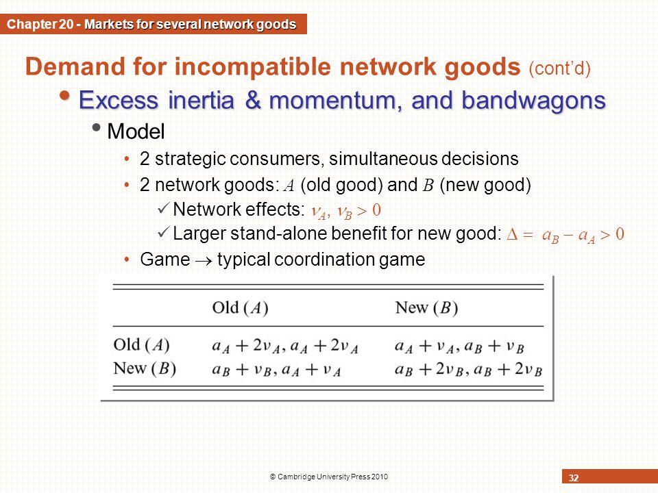 © Cambridge University Press 2010 32 Demand for incompatible network goods (contd) Excess inertia & momentum, and bandwagons Excess inertia & momentum
