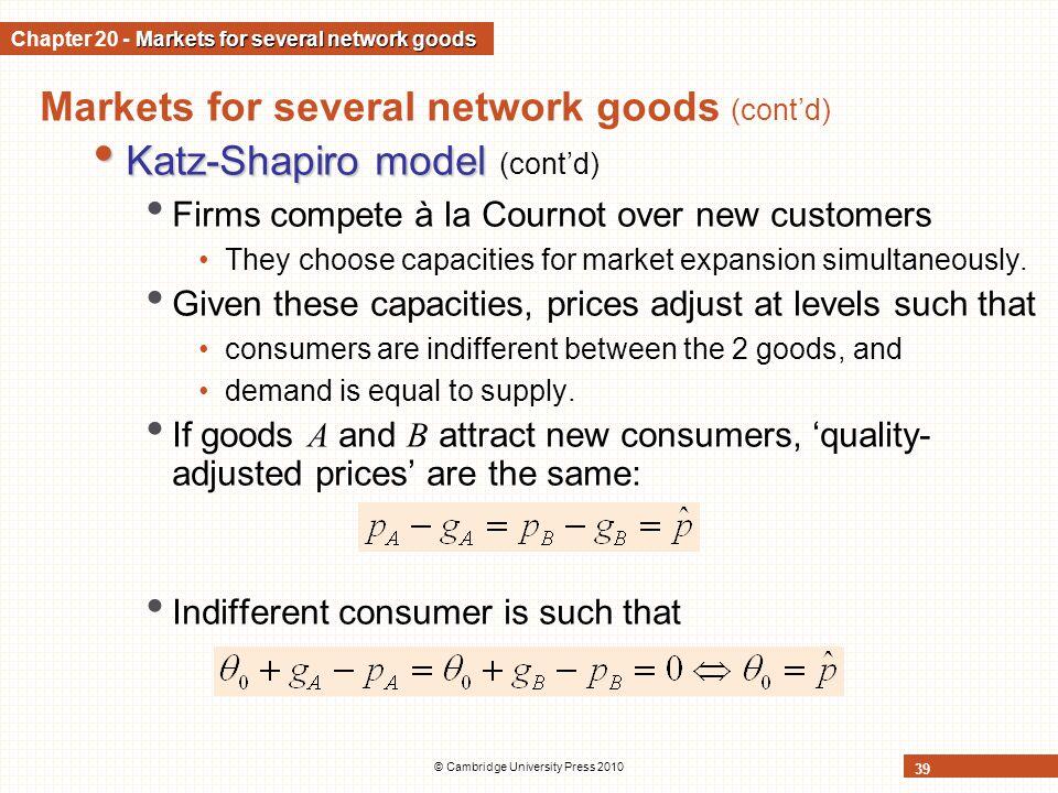 © Cambridge University Press 2010 39 Markets for several network goods (contd) Katz-Shapiro model Katz-Shapiro model (contd) Firms compete à la Courno