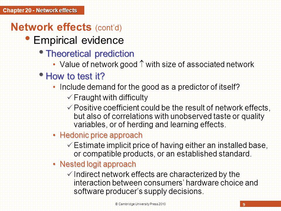 © Cambridge University Press 2010 9 Network effects (contd) Empirical evidence Theoretical prediction Theoretical prediction Value of network good wit