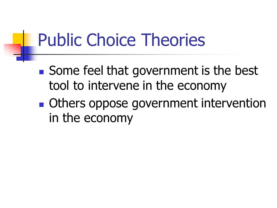 Public Choice Theories Some feel that government is the best tool to intervene in the economy Others oppose government intervention in the economy