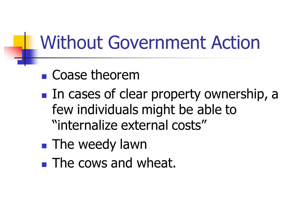 Without Government Action Coase theorem In cases of clear property ownership, a few individuals might be able to internalize external costs The weedy