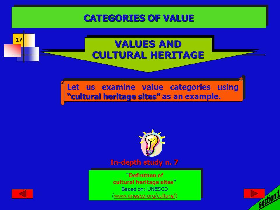 17 cultural heritage sites Let us examine value categories using cultural heritage sites as an example. VALUES AND CULTURAL HERITAGE VALUES AND CULTUR