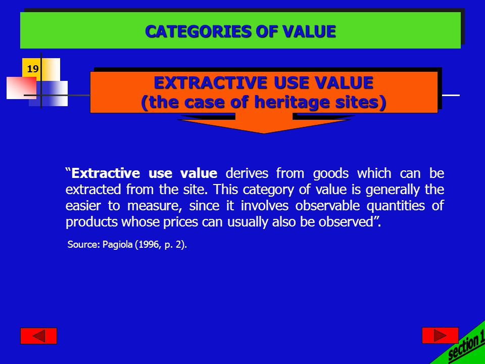 19 Extractive use value derives from goods which can be extracted from the site.