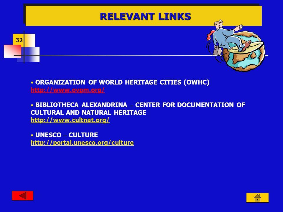 32 RELEVANT LINKS RELEVANT LINKS ORGANIZATION OF WORLD HERITAGE CITIES (OWHC) http://www.ovpm.org/ BIBLIOTHECA ALEXANDRINA – CENTER FOR DOCUMENTATION