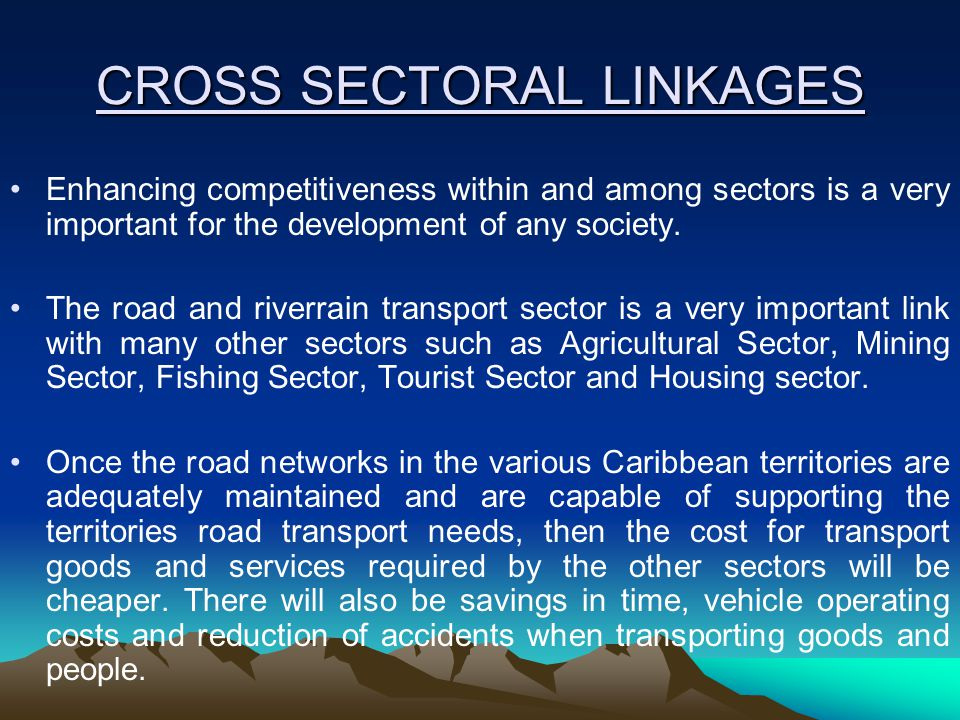 CROSS SECTORAL LINKAGES Enhancing competitiveness within and among sectors is a very important for the development of any society.