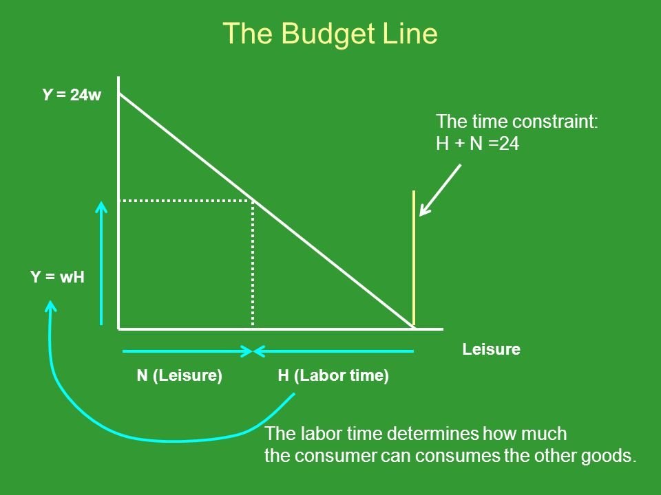 The Budget Line The time constraint: H + N =24 Leisure Y = 24w N (Leisure)H (Labor time) Y = wH The labor time determines how much the consumer can co