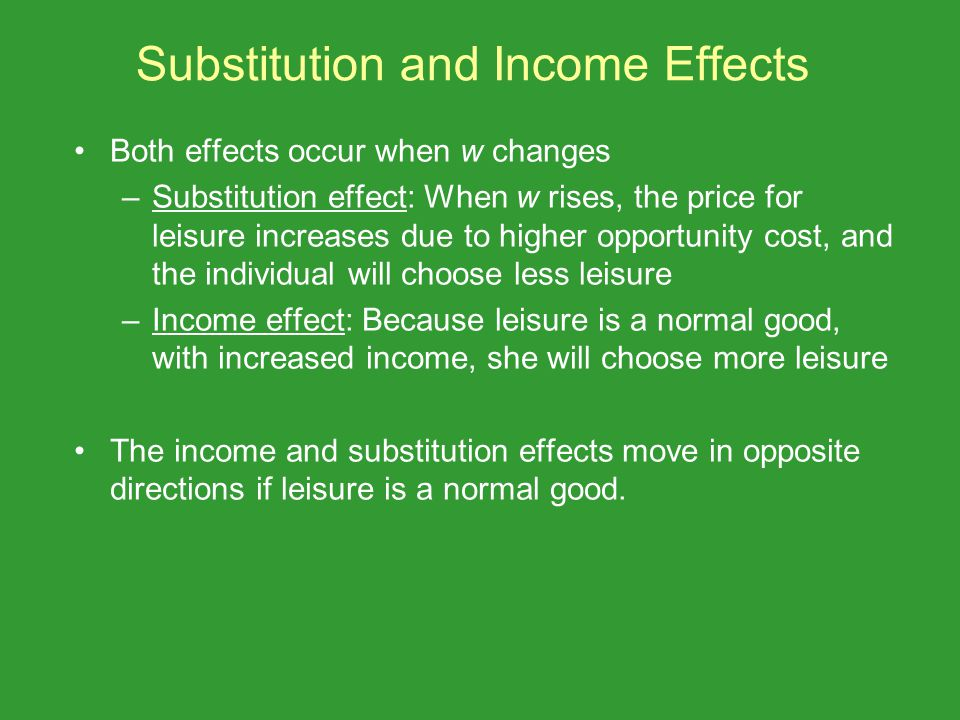 Substitution and Income Effects Both effects occur when w changes –Substitution effect: When w rises, the price for leisure increases due to higher op