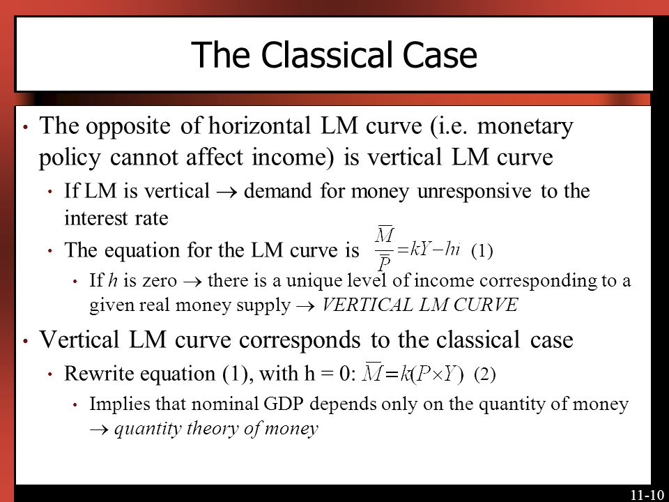 11-10 The Classical Case The opposite of horizontal LM curve (i.e. monetary policy cannot affect income) is vertical LM curve If LM is vertical demand