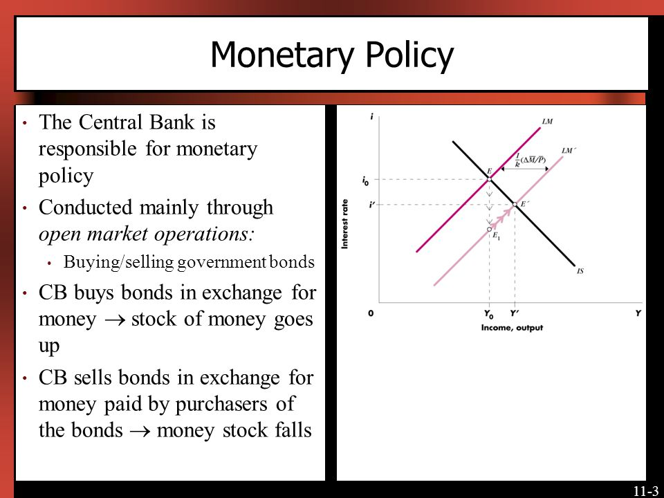 11-14 Fiscal Policy and Crowding Out Increased government spending increases income and the interest rate Higher interest rates and their impact on AD dampen the expansionary effect of increased G Income increases to Y 0 instead of Y [Insert Figure 11-4 here] Increase in government expenditures crowds out investment spending.