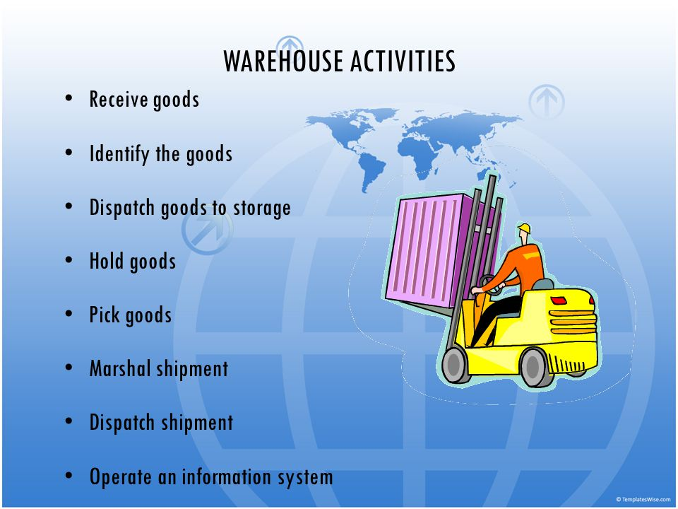 WAREHOUSE ACTIVITIES Receive goods Identify the goods Dispatch goods to storage Hold goods Pick goods Marshal shipment Dispatch shipment Operate an in