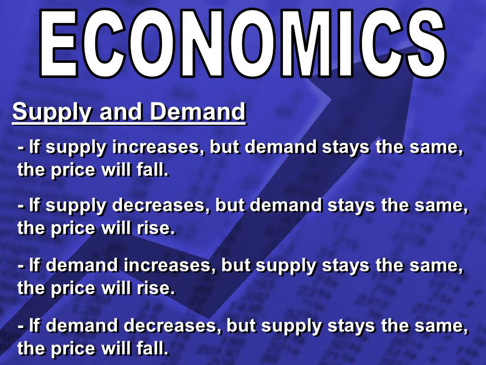 Supply and Demand - If supply increases, but demand stays the same, the price will fall. - If supply decreases, but demand stays the same, the price w