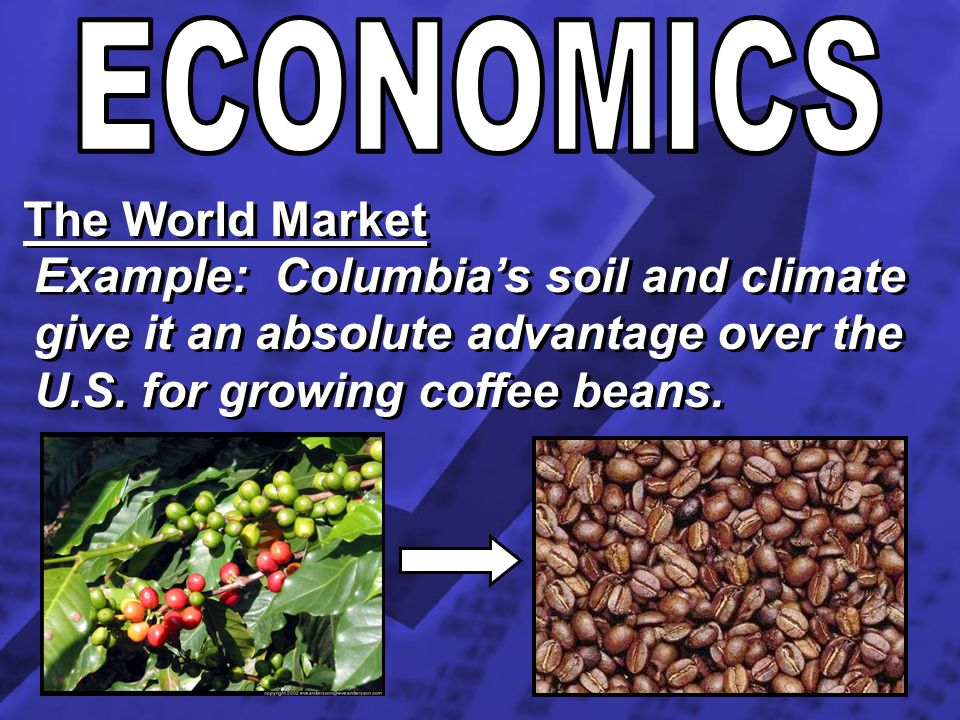 The World Market Example: Columbias soil and climate give it an absolute advantage over the U.S. for growing coffee beans.
