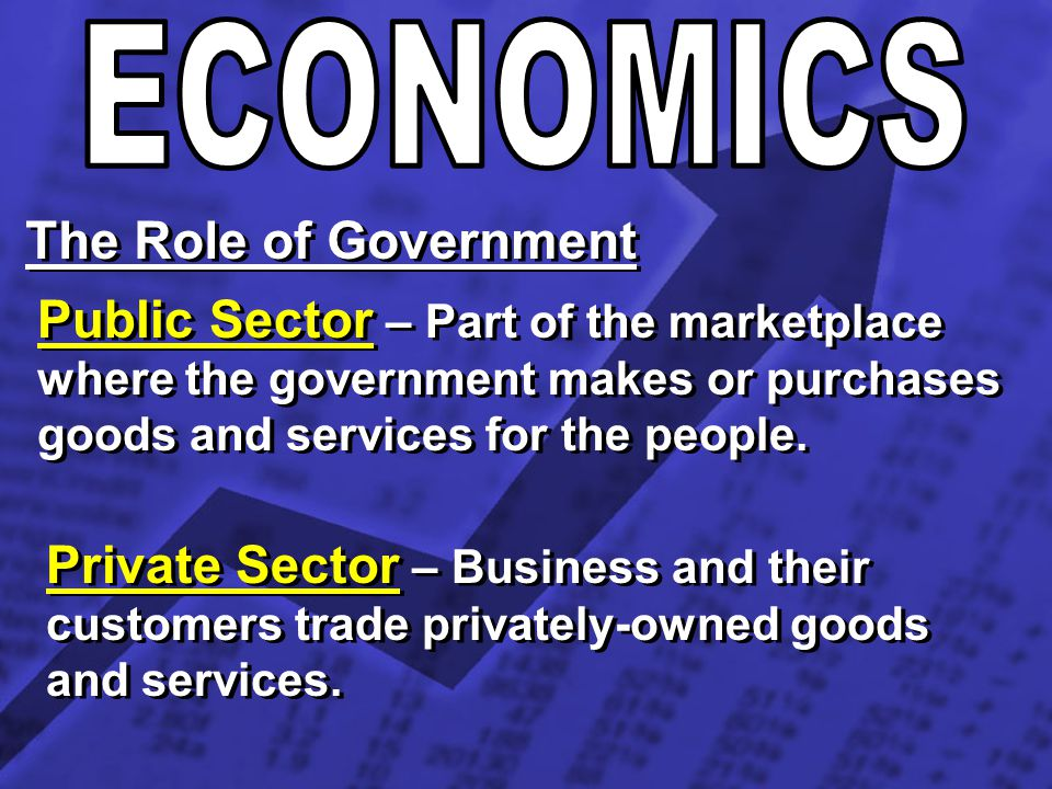 The Role of Government Public Sector – Part of the marketplace where the government makes or purchases goods and services for the people. Private Sect