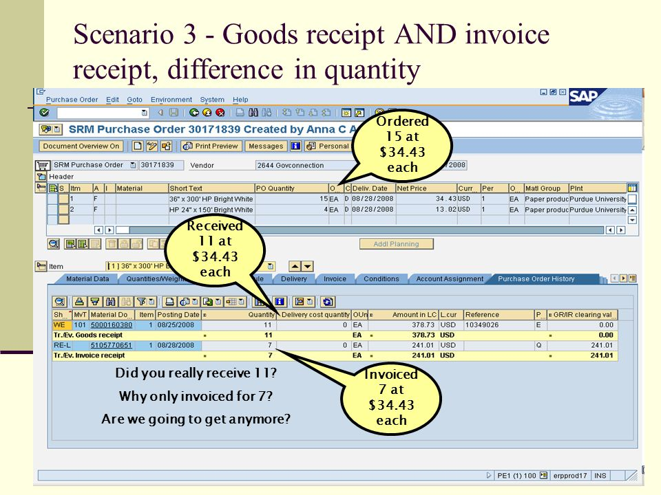 Scenario 3 - Goods receipt AND invoice receipt, difference in quantity Ordered 15 at $34.43 each Received 11 at $34.43 each Invoiced 7 at $34.43 each Did you really receive 11.