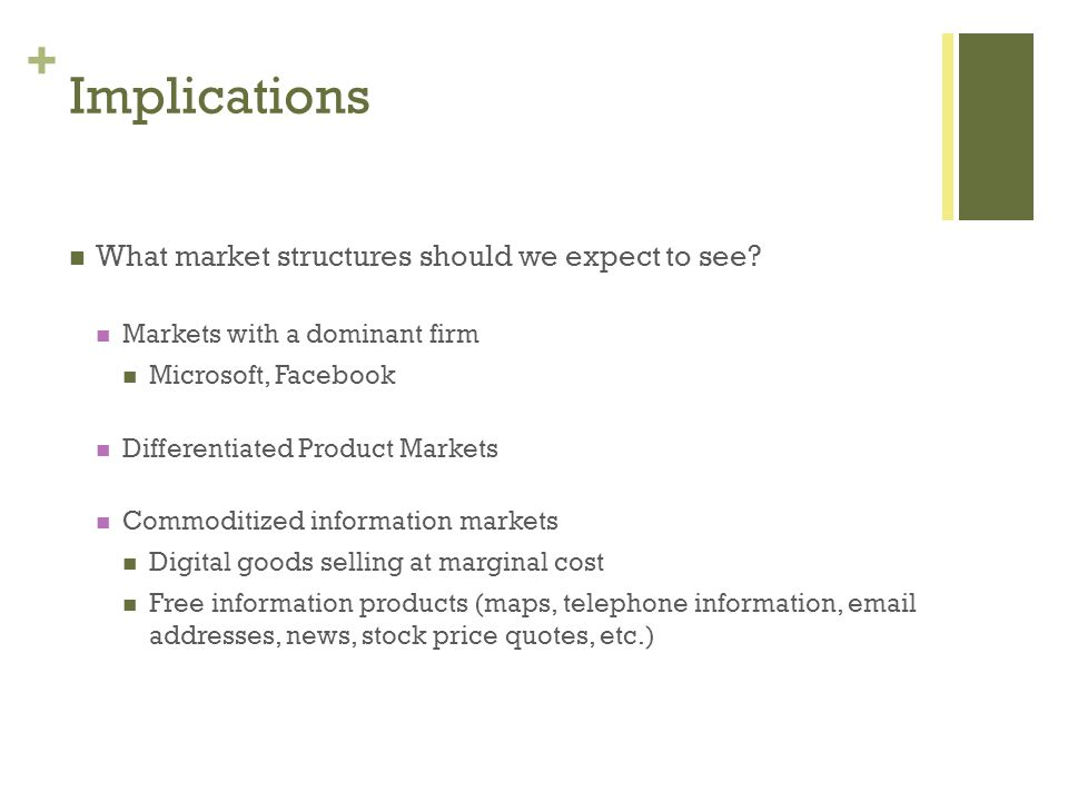 + Implications What market structures should we expect to see.