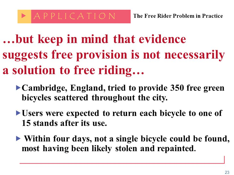 23 The Free Rider Problem in Practice A P P L I C A T I O N …but keep in mind that evidence suggests free provision is not necessarily a solution to f