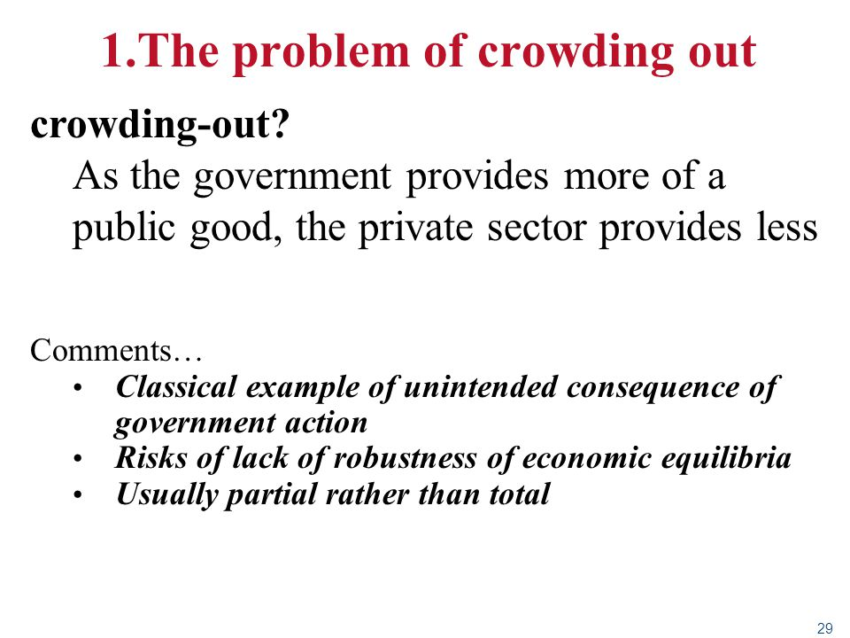29 1.The problem of crowding out crowding-out? As the government provides more of a public good, the private sector provides less Comments… Classical