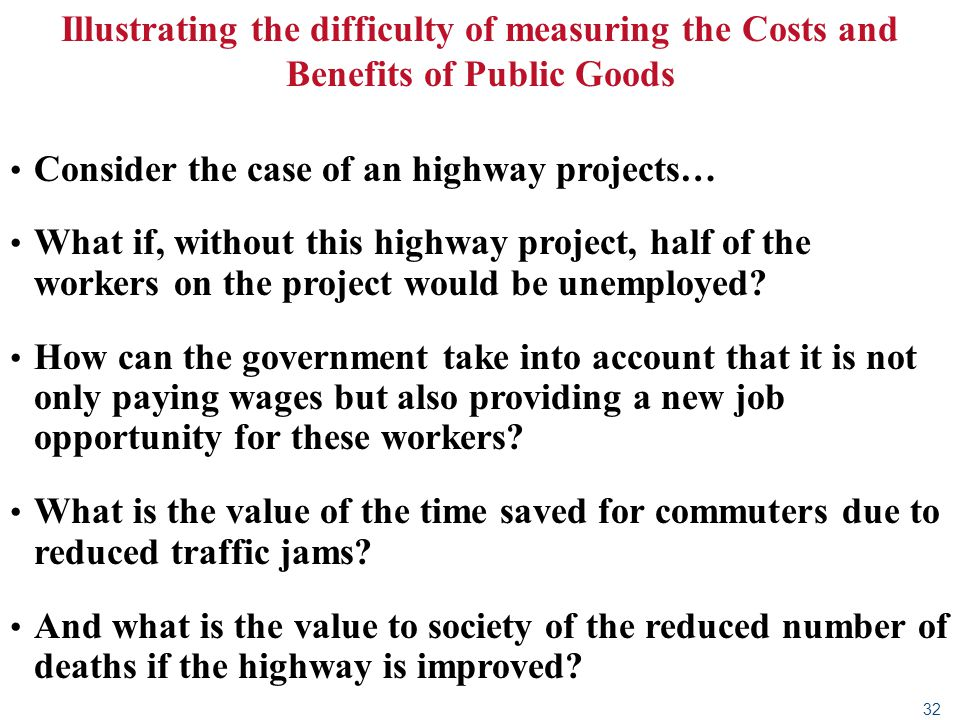 32 Illustrating the difficulty of measuring the Costs and Benefits of Public Goods Consider the case of an highway projects… What if, without this hig