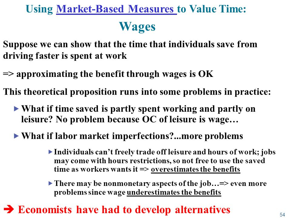 54 Using Market-Based Measures to Value Time: Wages Suppose we can show that the time that individuals save from driving faster is spent at work => ap