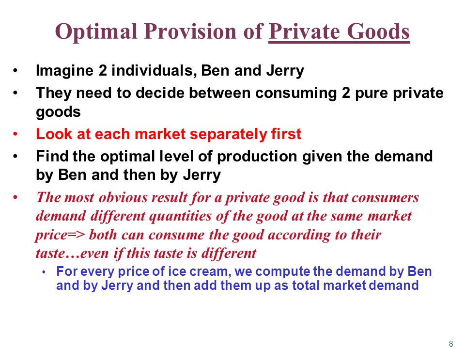 9 Optimal Provision of Private Goods (add up horizontally)