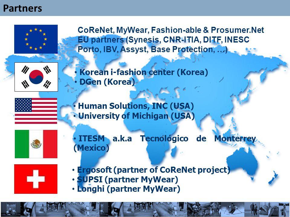 25 Partners Human Solutions, INC (USA) University of Michigan (USA) CoReNet, MyWear, Fashion-able & Prosumer.Net EU partners (Synesis, CNR-ITIA, DITF, INESC Porto, IBV, Assyst, Base Protection, …) Korean i-fashion center (Korea) DGen (Korea) ITESM a.k.a Tecnológico de Monterrey (Mexico) Ergosoft (partner of CoReNet project) SUPSI (partner MyWear) Longhi (partner MyWear)