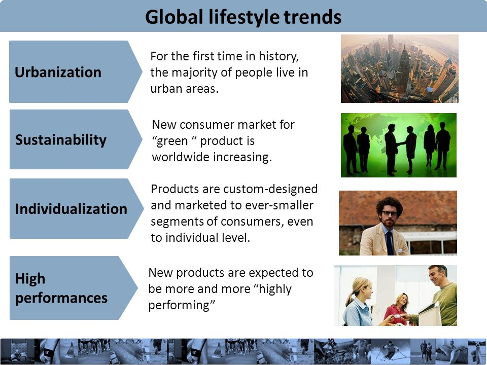 4 Global lifestyle trends For the first time in history, the majority of people live in urban areas.