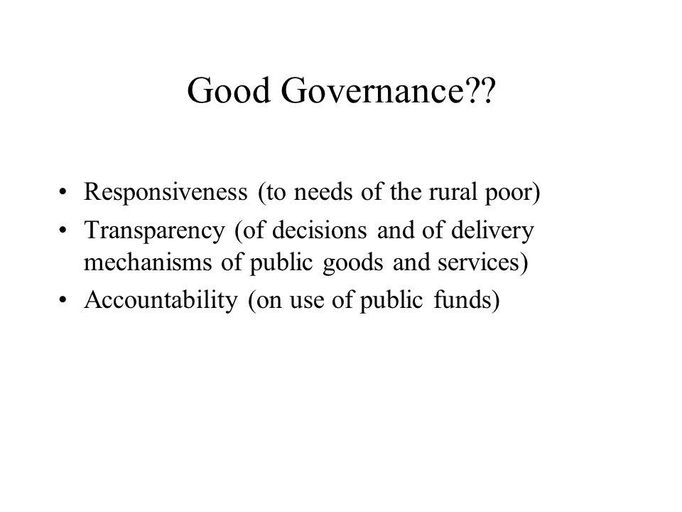 Good Governance .