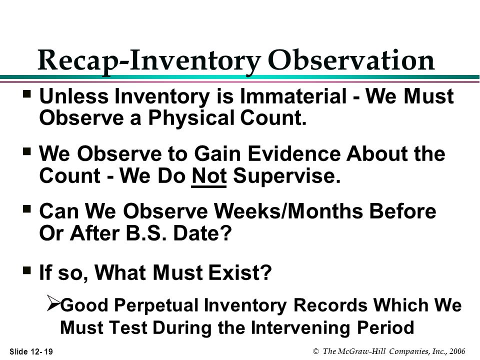 Slide 12- 19 © The McGraw-Hill Companies, Inc., 2006 Recap-Inventory Observation Unless Inventory is Immaterial - We Must Observe a Physical Count.