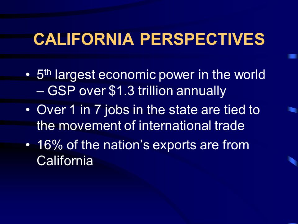 CALIFORNIA PERSPECTIVES 1996 Freight Volume: 1.16 billion tons 76 percent was moved by trucks 2016 Freight Volume Forecast: 1.81 billion tons (56% increase) 79 percent will be moved by trucks Federal forecasts project a 100% increase in the western state volumes between 2000 and 2020
